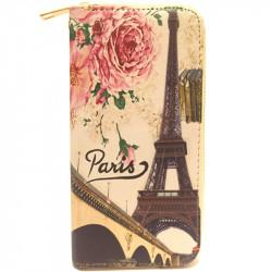 Barevná peněženka s motivem Eiffelovky - světle růžová