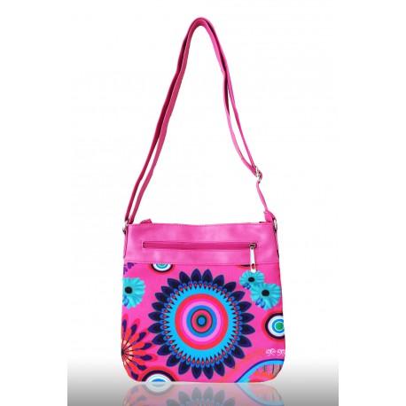 Hravá dámská kabelka s potiskem, Barva Růžová
