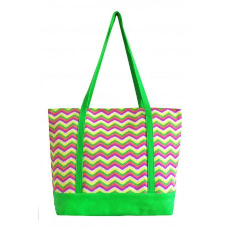 Zelená látková taška Cik Cak , Barva Zelená