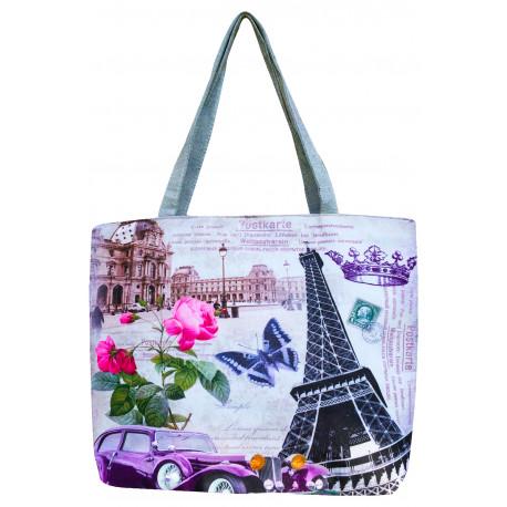 Látková taška s hravým potiskem - fialová, Barva Fialová