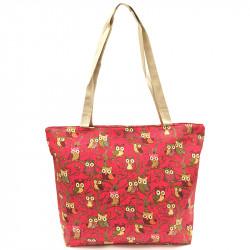 Látková taška se sovami - červená