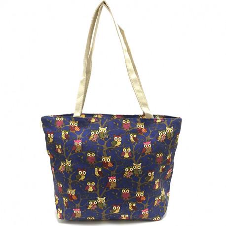 Látková taška se sovami - modrá