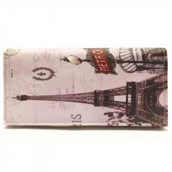 Barevná peněženka s motivem Eiffelovky -šedá