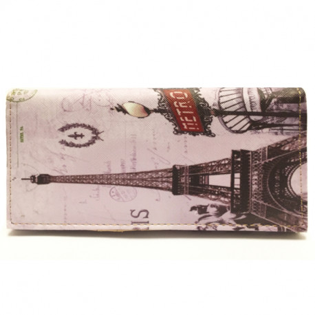 Barevná peněženka s motivem Eiffelovky 2 -šedá, Barva Šedá Kutti