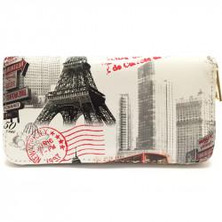 Barevná peněženka s motivem Eiffelovky - bílá