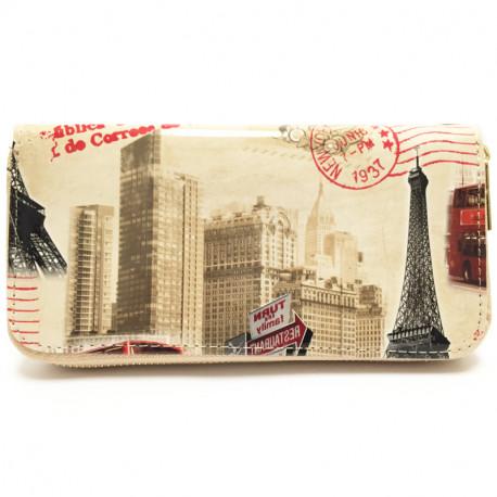 Barevná peněženka s motivem Eiffelovky - hnědá