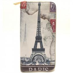 Barevná peněženka s motivem Eiffelovky - šedá