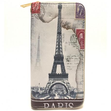 Barevná peněženka s motivem Eiffelovky - šedá, Barva Šedá Kutti