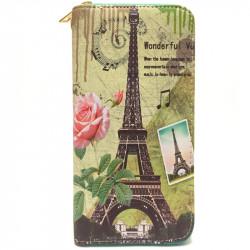 Barevná peněženka s motivem Eiffelovky - zelená