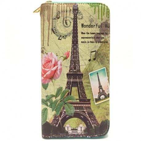 Barevná peněženka s motivem Eiffelovky - zelená, Barva Zelená Loranzo