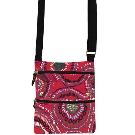 Dámská látková crossbody kabelka s potiskem - růžová
