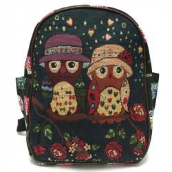 Dámský nebo dětský batoh se sovičkami - černý