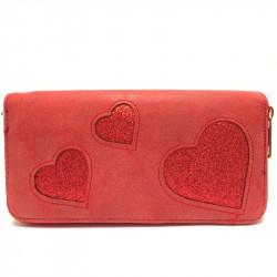 Dámská peněženka se srdíčky - červená