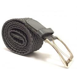 Elegantní elastický pásek s koženou aplikací a kovovou sponou - šedý
