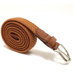 Elegantní elastický pásek s koženou aplikací a kovovou sponou - hnědý