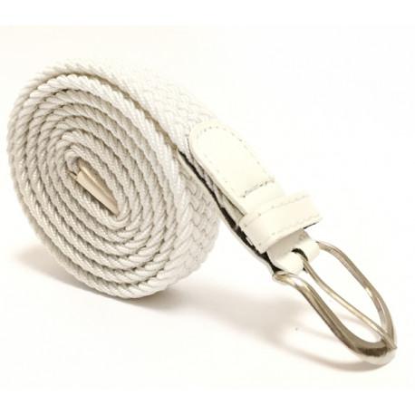 Úzký elastický pásek s koženou aplikací a kovovou sponou - bílý
