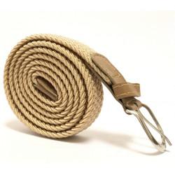 Úzký elastický pásek s koženou aplikací a kovovou sponou - béžový