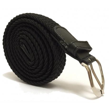 Úzký elastický pásek s koženou aplikací a kovovou sponou - černý