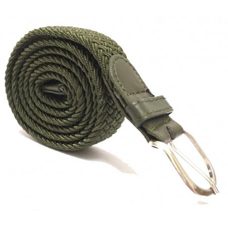 Úzký elastický pásek s koženou aplikací a kovovou sponou - zelený