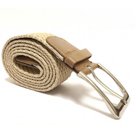 Elegantní elastický pásek s koženou aplikací a kovovou sponou - béžový