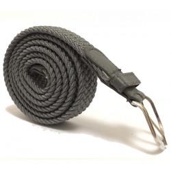 Úzký elastický pásek s koženou aplikací a kovovou sponou - šedý