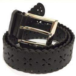 Elegantní elastický pásek s koženou aplikací a kovovou sponou - černý