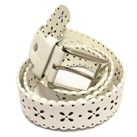 Perforovaný koženkový pásek s kovovou sponou 3541-361 - bílý