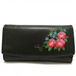 Kožená dámská peněženka s výšivkou 4001