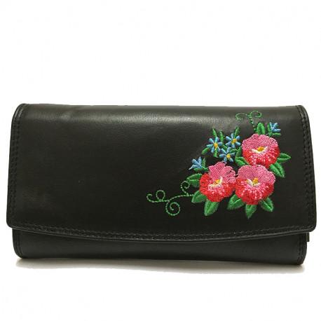 Kožená dámská peněženka s výšivkou 4001, Barva Černá