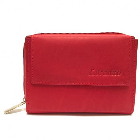 Kožená dámská peněženka 407 - červená, Barva Červená Loranzo