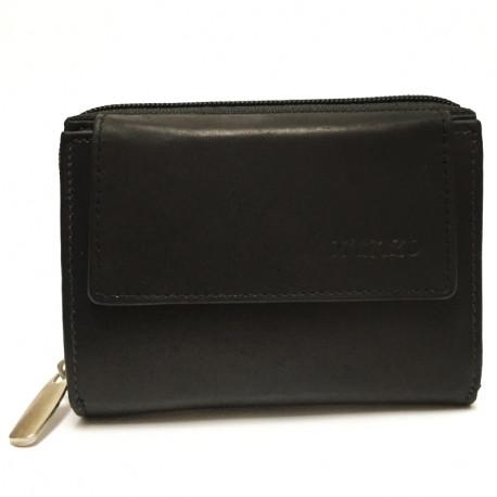 Kožená dámská peněženka 407 - černá, Barva Černá Loranzo