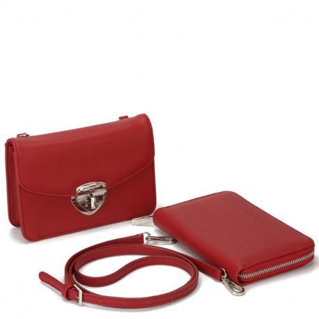 Dámský set - crossbody kabelka a peněženka David Jones 5504B-2 - vínová