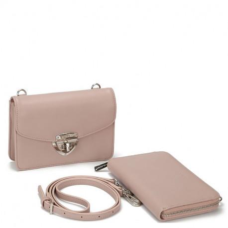 Dámský set - crossbody kabelka a peněženka David Jones 5504B-2 - růžová