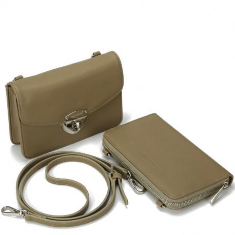 8d32368e160 Dámský set - crossbody kabelka a peněženka David Jones 5504B-2 - khaki