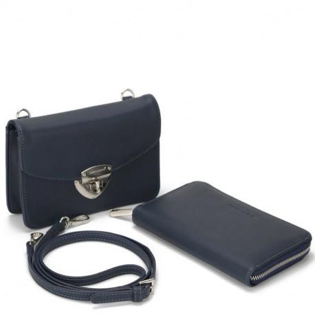 Dámský set - crossbody kabelka a peněženka David Jones 5504B-2 - modrá