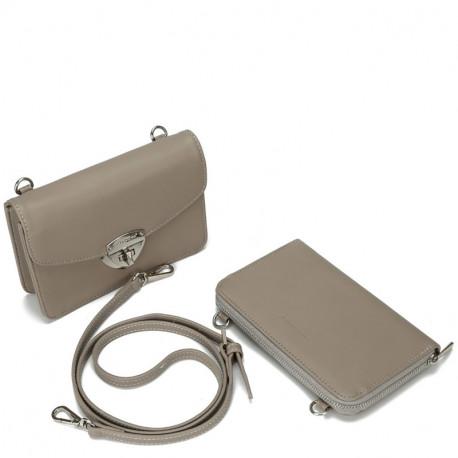 Dámský set - crossbody kabelka a peněženka David Jones 5504B-2 - šedá