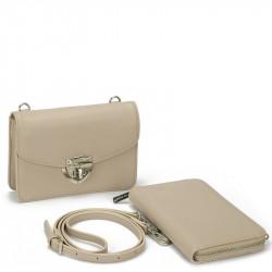 Dámský set - crossbody kabelka a peněženka David Jones 5504B-2 - béžová