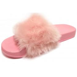 Dámské pantofle s kožešinkou - pudrové