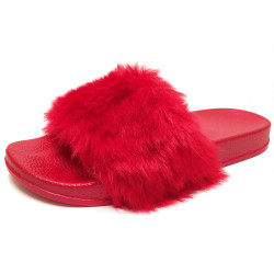 Dámské pantofle s kožešinkou - červené