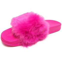 Dámské pantofle s kožešinkou - tmavě růžové