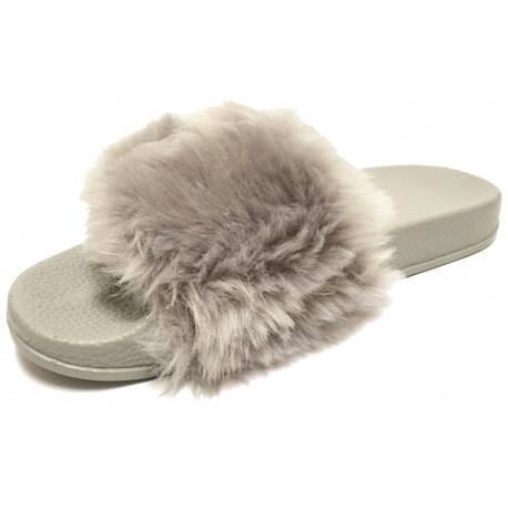 Dámské pantofle s kožešinkou - šedé