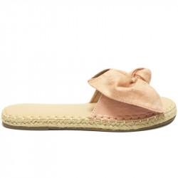 Dámské elegantní letní pantofle s mašlí - růžové