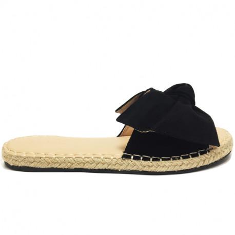 Dámské elegantní letní pantofle s mašlí - černé