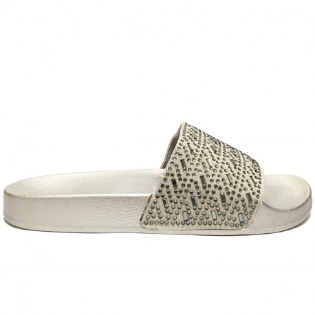 Dámské pantofle s korálky - šedé
