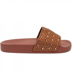 Dámské pantofle s korálky - hnědé