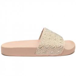 Dámské pantofle s korálky - světle růžové