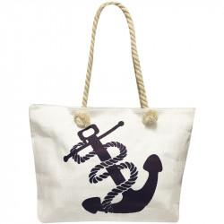 Velká plážová taška s potiskem - bílá
