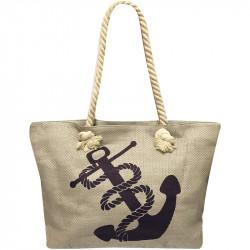 Velká plážová taška s potiskem - šedá