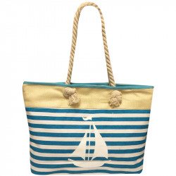 Velká plážová taška s potiskem - světle modrá