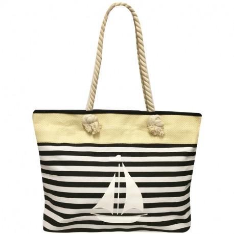 Velká plážová taška s potiskem - černá